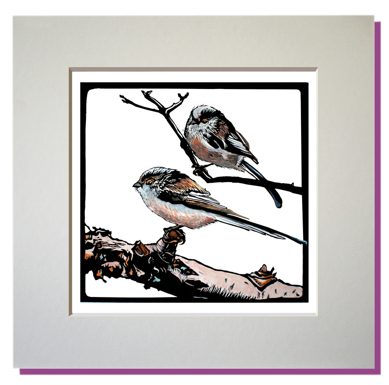 small print longtailed tits