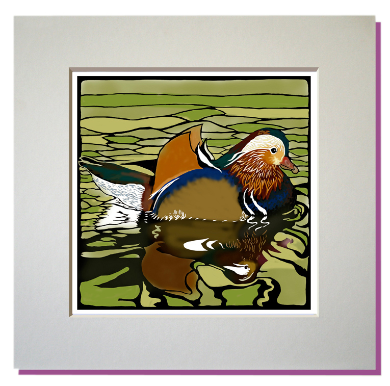 small mandarin duck print