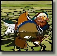 mandarin duck card button